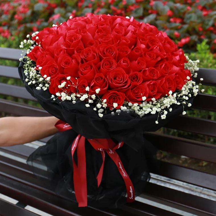 倾心为爱——99朵红玫瑰花精美包装