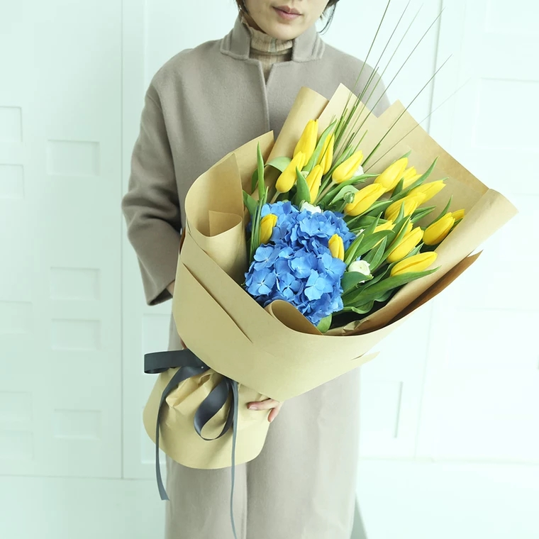 为爱而生-18朵进口郁金香,1支进口蓝绣球 精美包装