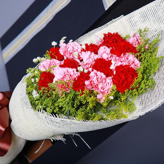 青春常在——19朵红粉康乃馨,搭配满天星、黄莺