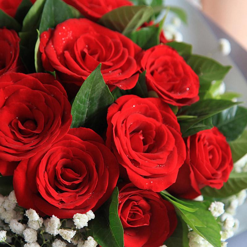 忠诚的爱-11枝红玫瑰韩式花束
