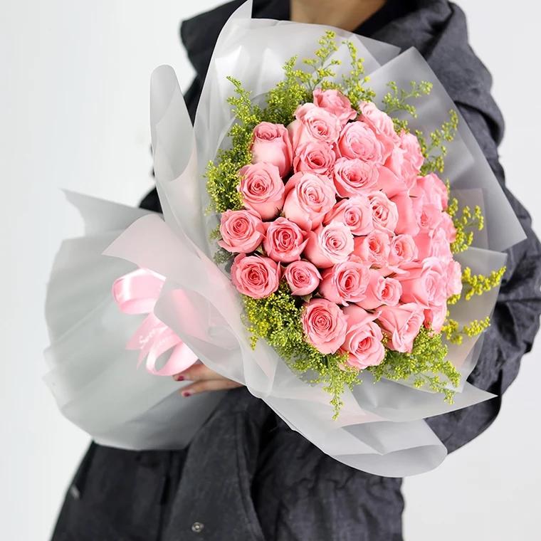 不让你流泪-33朵粉色玫瑰花精美包装