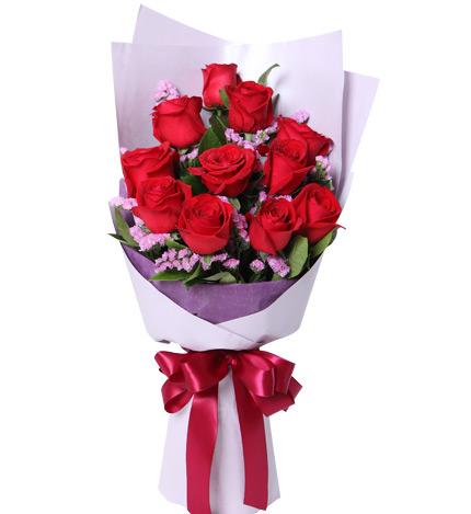爱的纪念日----11枝红玫瑰配勿忘我如图精美包装
