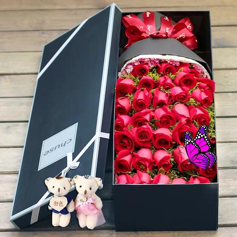 勿忘初心-33朵红色玫瑰花+2个小熊 精美礼盒盛放