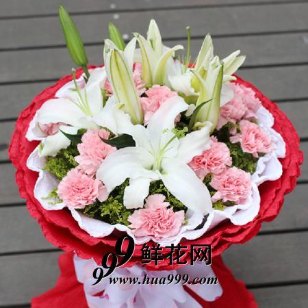 暖暖情谊——3枝白百合花+11朵粉康乃馨,精美包装