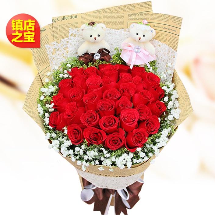 幸福约定-33朵红玫瑰+2个小熊如图精美包装