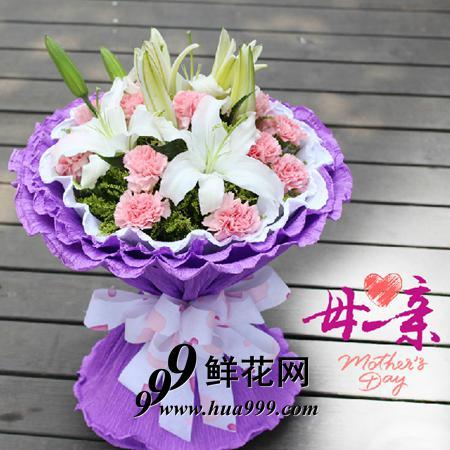 亲爱的妈妈——3枝白百合花+11朵粉康乃馨精美包装